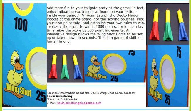 "Target and ""finger darts"""